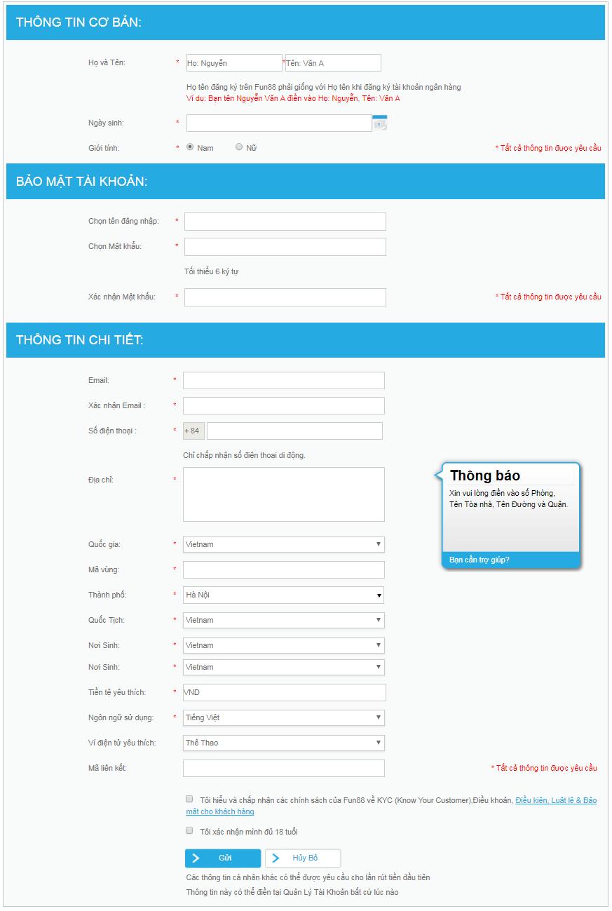 Thông tin đăng ký fun88