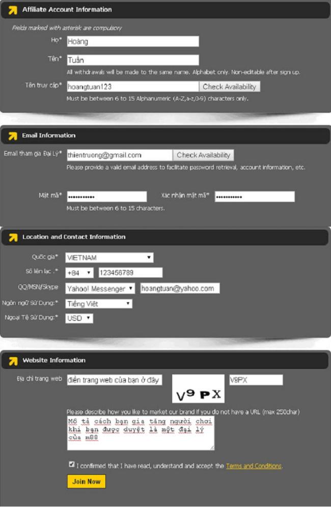 Thông tin đại lý m88